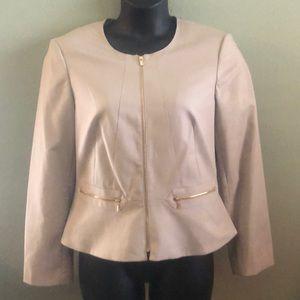 Calvin Klein tan fitted peplum jacket/blazer